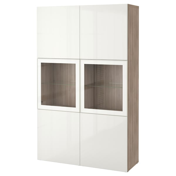 """BESTÅ Storage combination w/glass doors, walnut effect light gray/Selsviken high gloss/white clear glass, 47 1/4x15 3/4x75 5/8 """""""