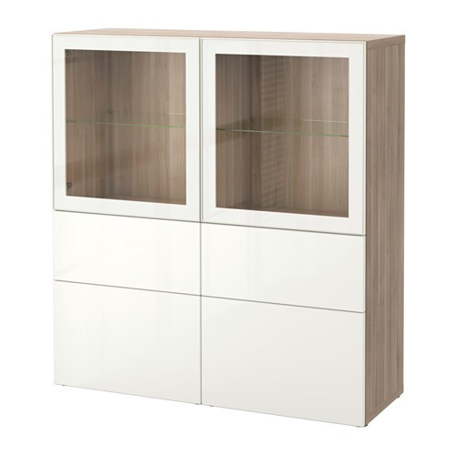 best storage combination w glass doors walnut effect light gray selsviken high gloss white. Black Bedroom Furniture Sets. Home Design Ideas