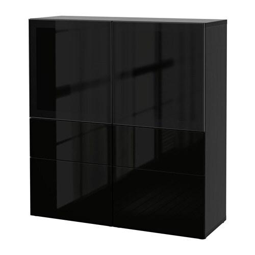 Best Storage Combination Wglass Doors Black Brownselsviken High