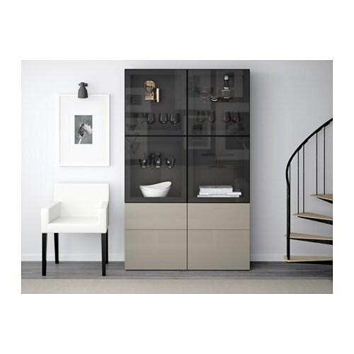 Ikea Besta Vitrine bestå storage combination w glass doors white selsviken high gloss