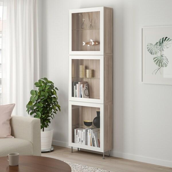 "BESTÅ storage combination w/glass doors walnut effect light gray/Glassvik/Stallarp white clear glass 23 5/8 "" 8 5/8 "" 79 1/2 """