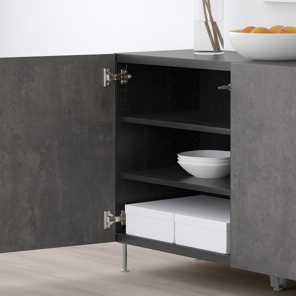 "BESTÅ Storage combination with doors, black-brown Kallviken/Stallarp/dark gray concrete effect, 47 1/4x15 3/4x29 1/8 """