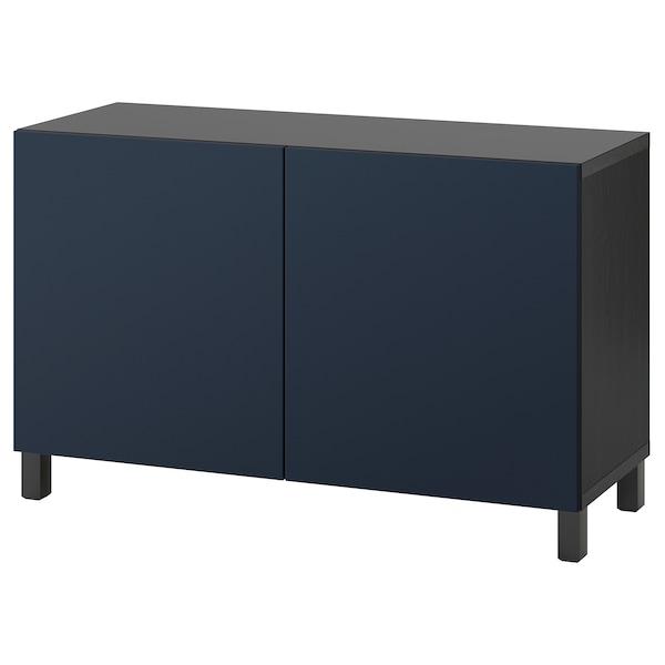 "BESTÅ Storage combination with doors, black-brown/Notviken/Stubbarp blue, 47 1/4x16 1/2x29 1/8 """