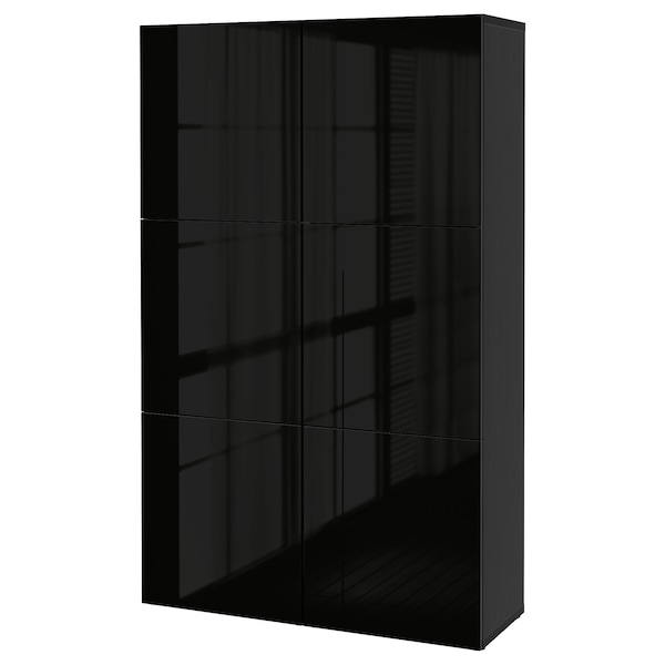 "BESTÅ storage combination with doors black-brown/Selsviken high-gloss/black 47 1/4 "" 15 3/4 "" 75 5/8 """