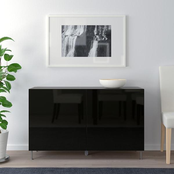 "BESTÅ Storage combination with doors, black-brown/Selsviken/Stallarp high-gloss/black, 47 1/4x15 3/4x29 1/8 """