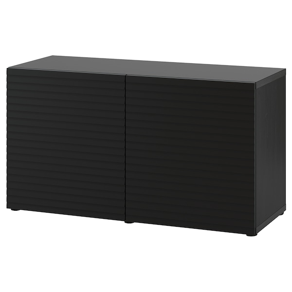 "BESTÅ Storage combination with doors, black-brown/Stockviken anthracite, 47 1/4x16 1/2x25 5/8 """