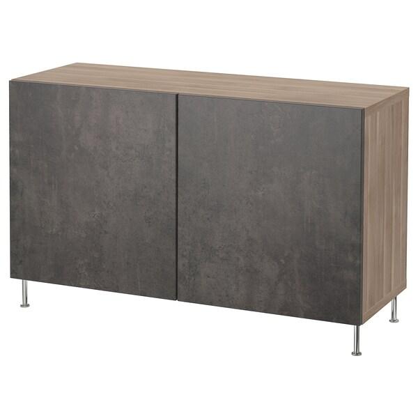 "BESTÅ Storage combination with doors, walnut effect light gray Kallviken/Stallarp/dark gray concrete effect, 47 1/4x15 3/4x29 1/8 """