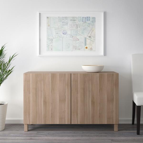 "BESTÅ Storage combination with doors, walnut effect light gray/Lappviken/Stubbarp walnut effect light gray, 47 1/4x16 1/2x29 1/8 """