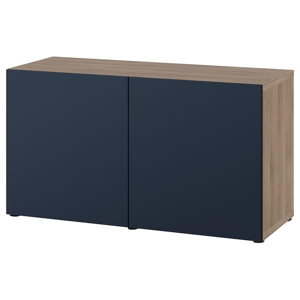 "BESTÅ Storage combination with doors, walnut effect light gray/Notviken blue, 47 1/4x16 1/2x25 5/8 """