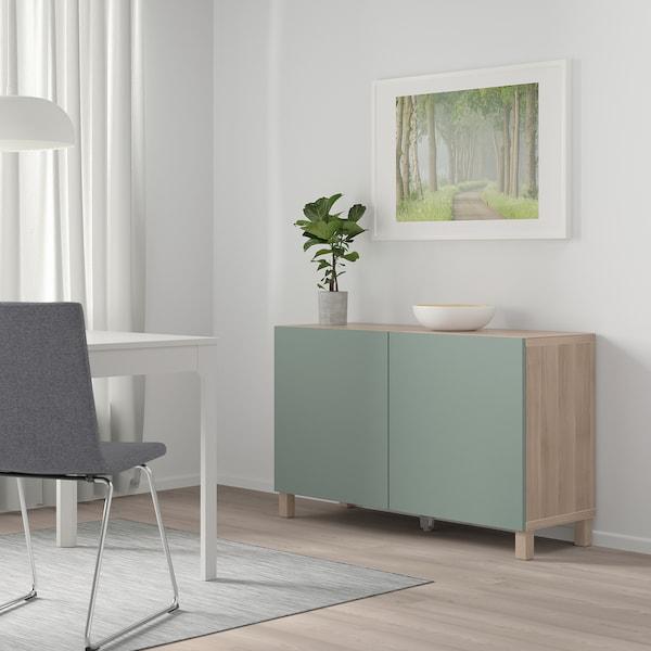 "BESTÅ Storage combination with doors, walnut effect light gray/Notviken/Stubbarp gray-green, 47 1/4x16 1/2x29 1/8 """