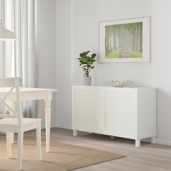 """BESTÅ Storage combination with doors, white/Hanviken white, 47 1/4x16 1/2x25 5/8 """""""
