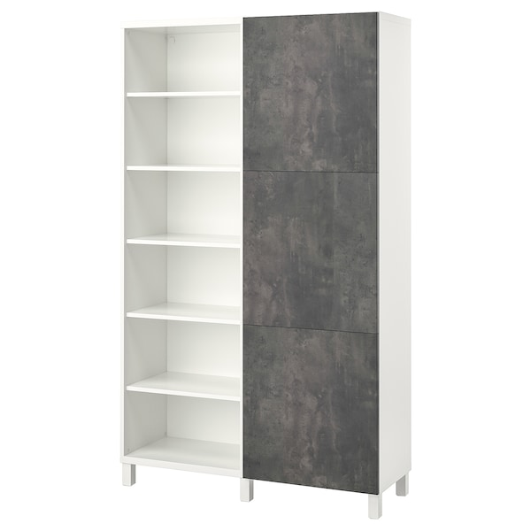 BESTÅ Storage combination with doors, white/Kallviken/Stubbarp concrete effect, 47 1/4x16 1/2x79 1/2 ""