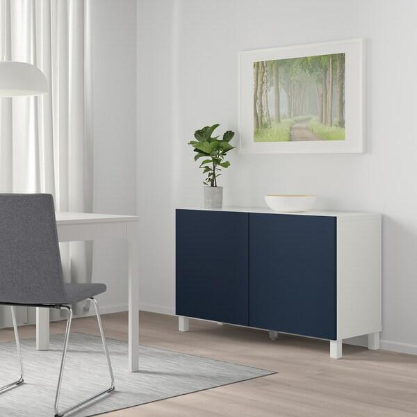 """BESTÅ Storage combination with doors, white/Notviken blue, 47 1/4x16 1/2x25 5/8 """""""