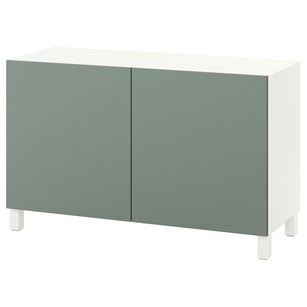 "BESTÅ Storage combination with doors, white/Notviken/Stubbarp gray-green, 47 1/4x16 1/2x29 1/8 """