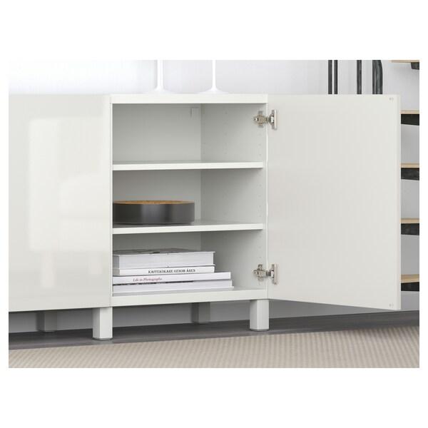 "BESTÅ Storage combination with doors, white/Selsviken high-gloss/white, 70 7/8x16 1/2x25 5/8 """