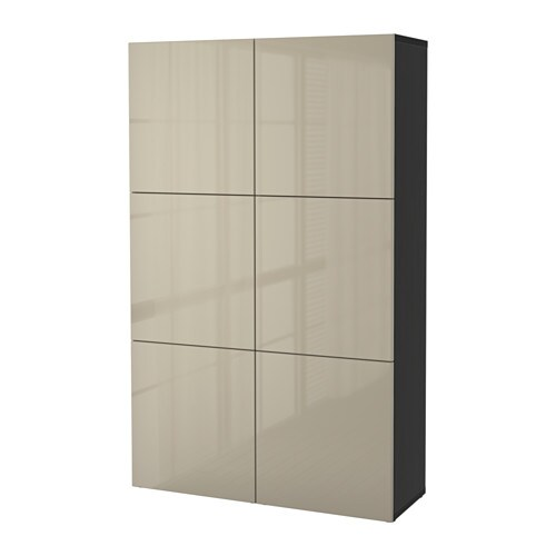 best storage combination with doors black brown selsviken high gloss beige ikea. Black Bedroom Furniture Sets. Home Design Ideas