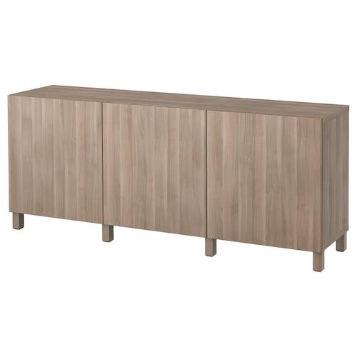 "BESTÅ storage combination with doors Lappviken walnut effect light gray 70 7/8 "" 15 3/4 "" 29 1/8 """