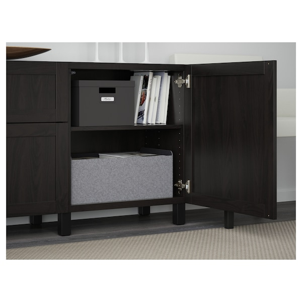 """BESTÅ Storage combination with drawers, black-brown/Hanviken black-brown, 70 7/8x15 3/4x29 1/8 """""""