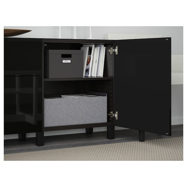 BESTÅ Storage combination with drawers, black-brown/Selsviken high-gloss/black, 70 7/8x15 3/4x29 1/8 ""