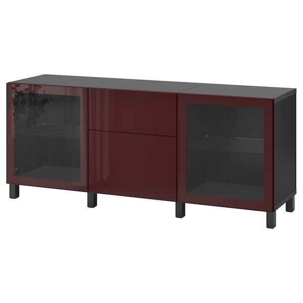 BESTÅ Storage combination with drawers, black-brown Selsviken/Stubbarp/dark red-brown clear glass, 70 7/8x16 1/2x29 1/8 ""