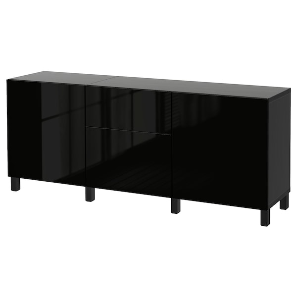 BESTÅ Storage combination with drawers, black-brown/Selsviken/Stubbarp high-gloss/black, 70 7/8x16 1/2x29 1/8 ""