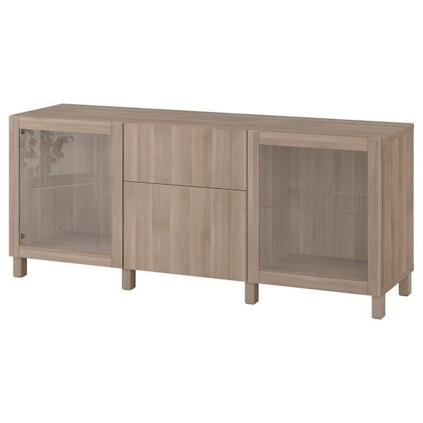 "BESTÅ Storage combination with drawers, walnut effect light gray Lappviken/Sindvik/Stubbarp gray stained walnut eff clear glass, 70 7/8x16 1/2x29 1/8 """
