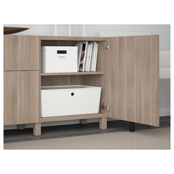 BESTÅ Storage combination with drawers, walnut effect light gray/Lappviken/Stubbarp walnut effect light gray, 70 7/8x16 1/2x29 1/8 ""