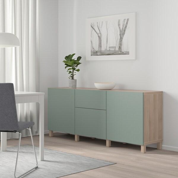"BESTÅ Storage combination with drawers, walnut effect light gray/Notviken/Stubbarp gray-green, 70 7/8x16 1/2x29 1/8 """