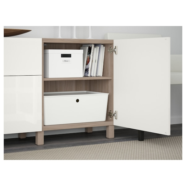 BESTÅ Storage combination with drawers, walnut effect light gray/Selsviken high-gloss/white, 70 7/8x15 3/4x29 1/8 ""