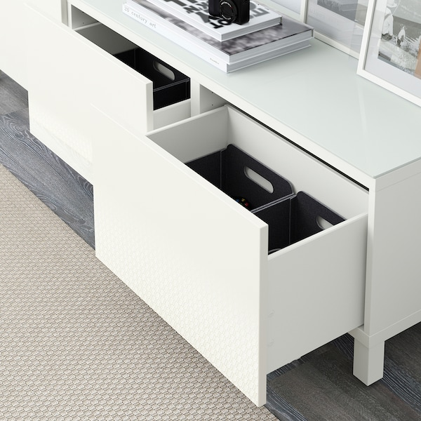 "BESTÅ storage combination with drawers white/Selsviken high-gloss/white 70 7/8 "" 15 3/4 "" 18 7/8 """