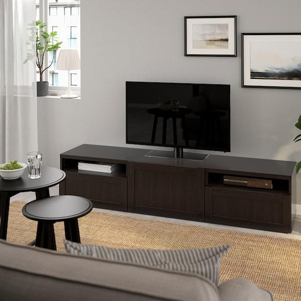 "BESTÅ TV bench, black-brown/Hanviken black-brown, 70 7/8x16 1/2x15 3/8 """