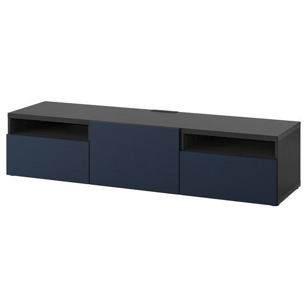 "BESTÅ TV bench, black-brown/Notviken blue, 70 7/8x16 1/2x15 3/8 """