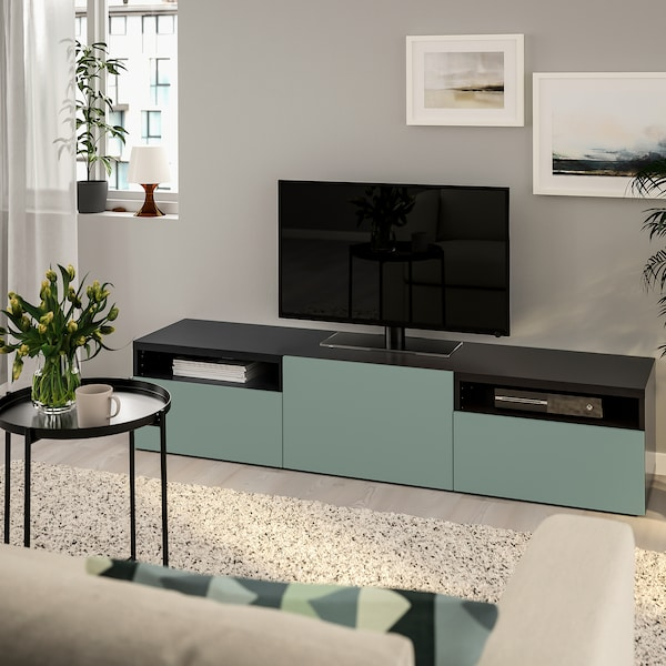 BESTÅ TV bench, black-brown/Notviken gray-green, 70 7/8x16 1/2x15 3/8 ""