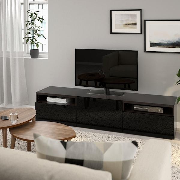 Tv Meubel Quebec.Besta Tv Bench Black Brown Selsviken High Gloss Black Ikea