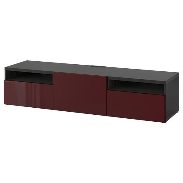 "BESTÅ TV bench, black-brown Selsviken/high gloss dark red-brown, 70 7/8x16 1/2x15 3/8 """
