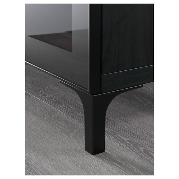 BESTÅ TV bench, black-brown/Selsviken/Nannarp high gloss/black clear glass, 70 7/8x16 1/2x18 7/8 ""