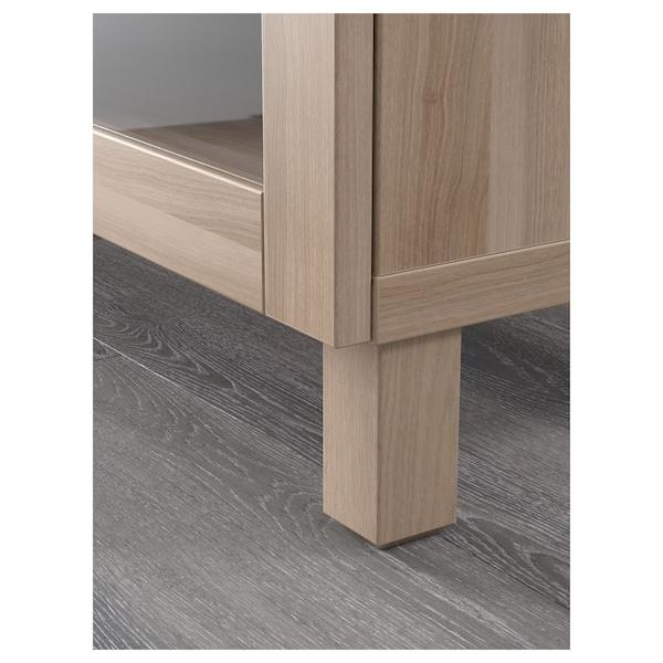 "BESTÅ TV bench, walnut effect light gray/Lappviken/Stubbarp gray stained walnut eff clear glass, 70 7/8x16 1/2x18 7/8 """