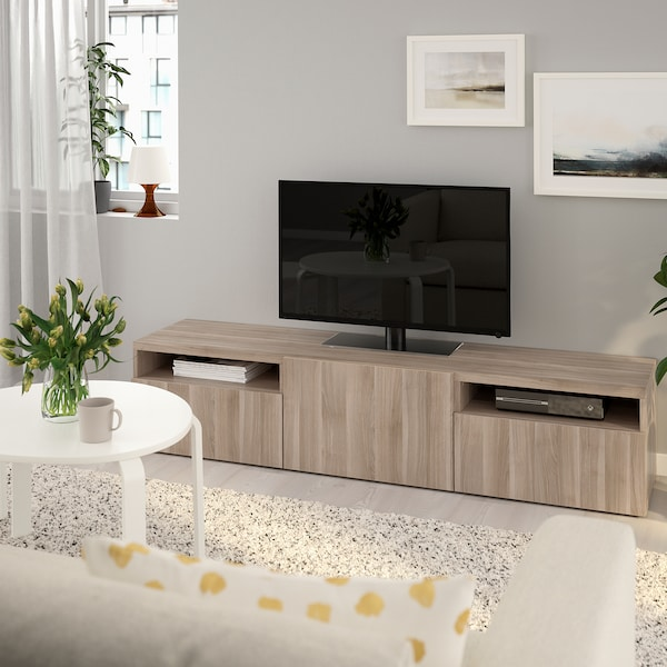 BESTÅ TV bench, walnut effect light gray/Lappviken walnut effect light gray, 70 7/8x16 1/2x15 3/8 ""