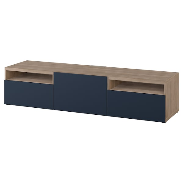 BESTÅ TV bench, walnut effect light gray/Notviken blue, 70 7/8x16 1/2x15 3/8 ""