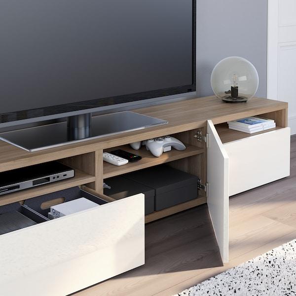 """BESTÅ TV bench, walnut effect light gray/Selsviken high-gloss/white, 70 7/8x16 1/2x15 3/8 """""""