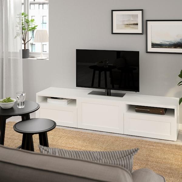 "BESTÅ TV bench, white/Hanviken white, 70 7/8x16 1/2x15 3/8 """