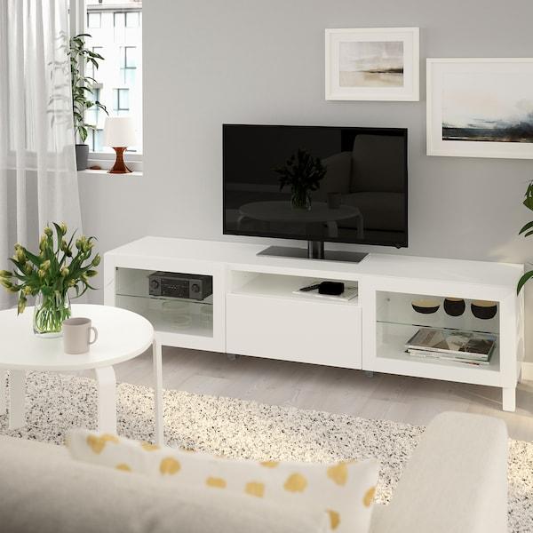 "BESTÅ TV bench, white/Lappviken/Stubbarp white clear glass, 70 7/8x16 1/2x18 7/8 """