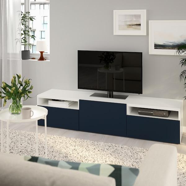 """BESTÅ TV bench, white/Notviken blue, 70 7/8x16 1/2x15 3/8 """""""