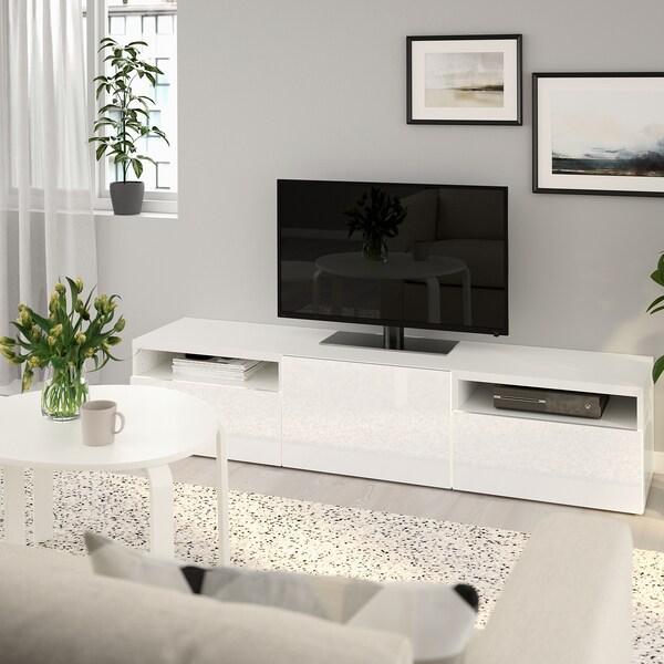 Tv Meubel Quebec.Besta Tv Bench White Selsviken High Gloss White Ikea