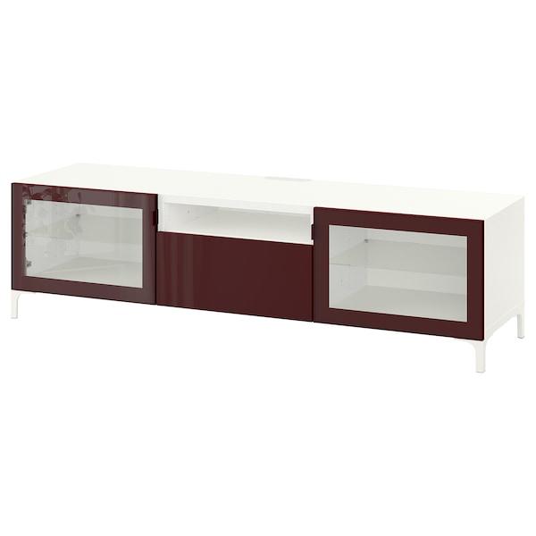 "BESTÅ TV bench, white Selsviken/Nannarp/high gloss dark red-brown, 70 7/8x16 1/2x18 7/8 """