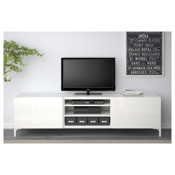 Besta Tv Unit With Drawers White Selsviken High Gloss White Ikea