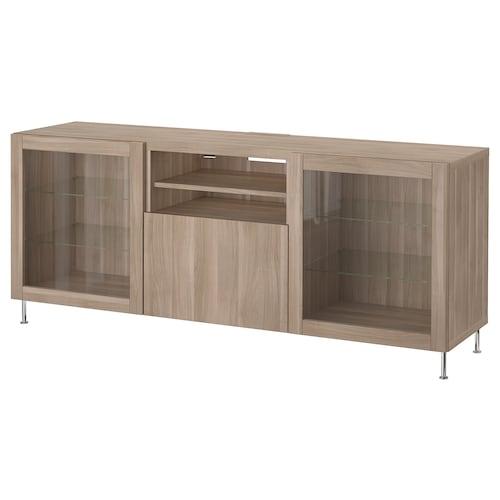 "BESTÅ TV unit with drawers walnut effect light gray/Lappviken/Stallarp gray stained walnut eff clear glass 70 7/8 "" 16 1/2 "" 29 1/8 "" 110 lb"