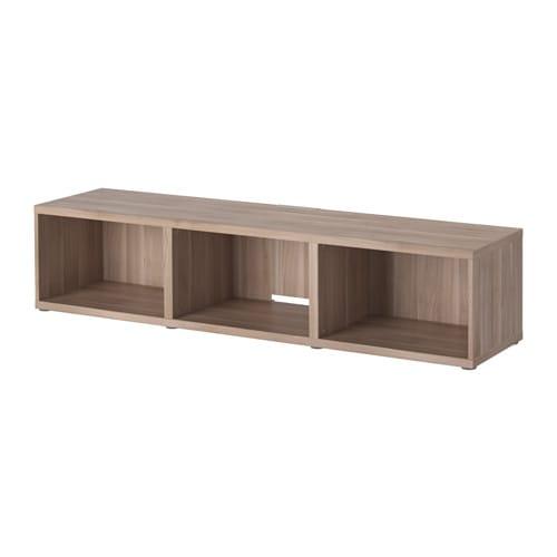 Best tv bench walnut effect light gray ikea for Besta tv unit ikea