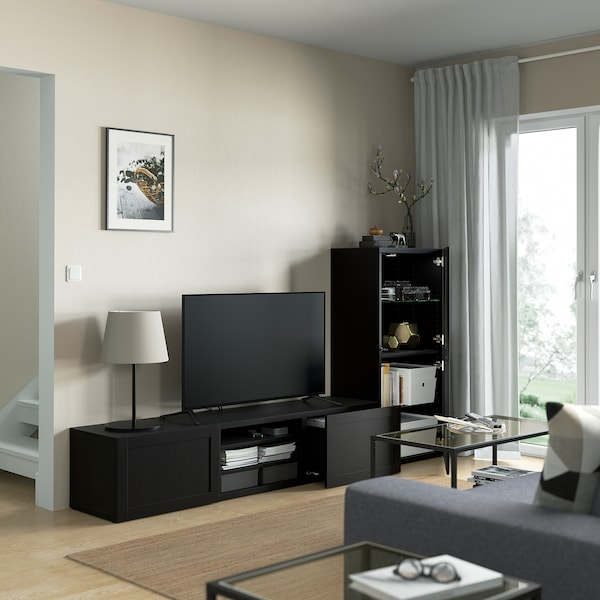 "BESTÅ TV storage combination/glass doors, black-brown/Hanviken black-brown clear glass, 94 1/2x16 1/2x50 3/4 """