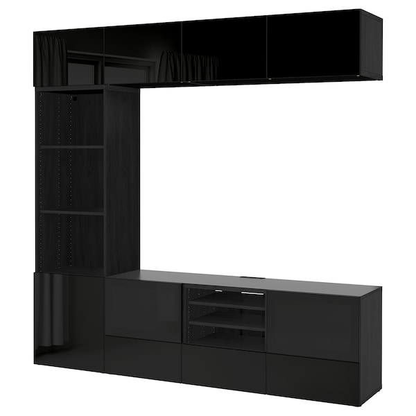 "BESTÅ TV storage combination/glass doors, black-brown/Selsviken high gloss/black smoked glass, 94 1/2x15 3/4x90 1/2 """
